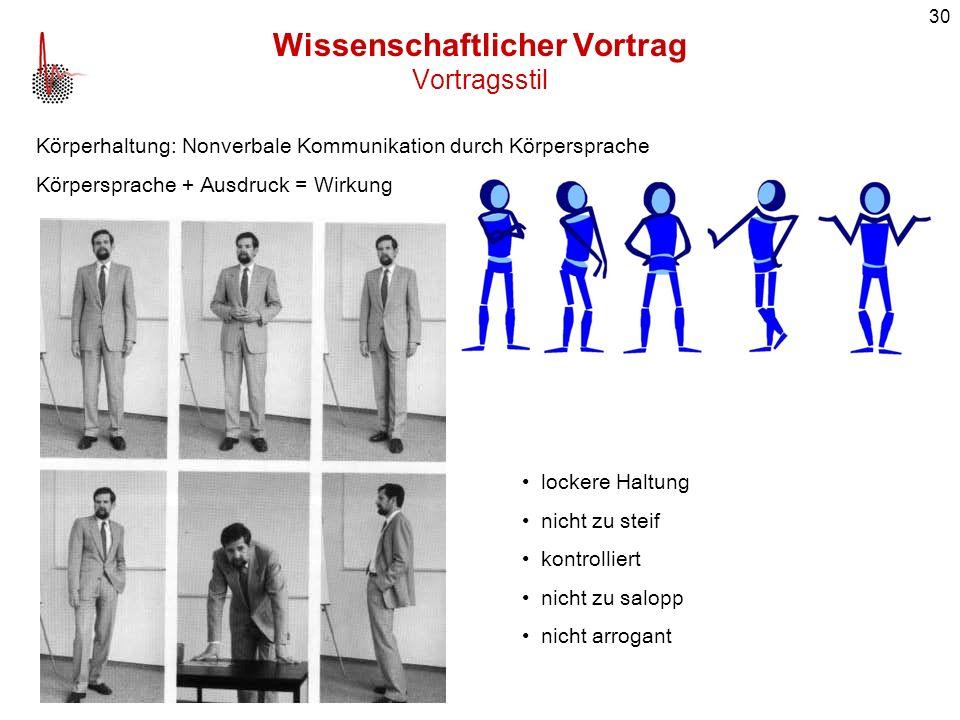 30 Wissenschaftlicher Vortrag Vortragsstil Körperhaltung: Nonverbale Kommunikation durch Körpersprache Körpersprache + Ausdruck = Wirkung lockere Halt