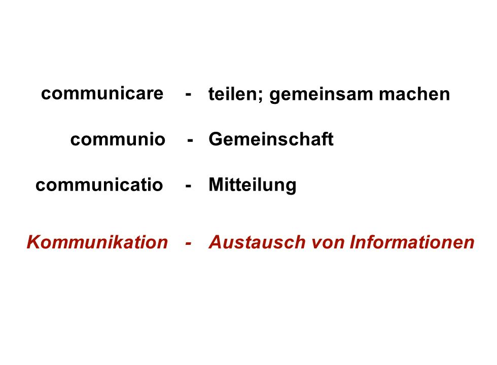 Institut für Grundlagen der Planung– Universität Stuttgart Institute for the Foundations of Planning – University of Stuttgart teilen; gemeinsam machen communicare - communio -Gemeinschaft Mitteilungcommunicatio - Austausch von InformationenKommunikation -