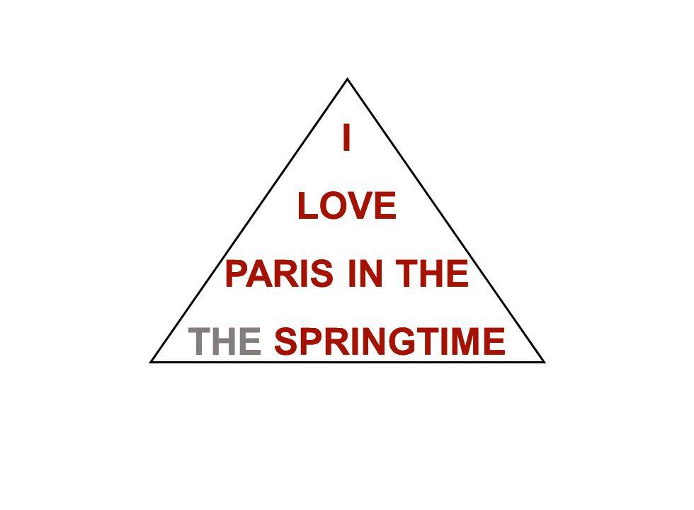Institut für Grundlagen der Planung– Universität Stuttgart Institute for the Foundations of Planning – University of Stuttgart I LOVE PARIS IN THE THE SPRINGTIME I LOVE PARIS IN THE THE SPRINGTIME