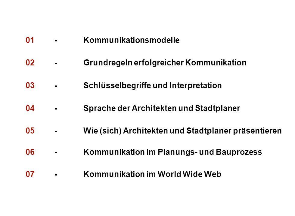 Institut für Grundlagen der Planung– Universität Stuttgart Institute for the Foundations of Planning – University of Stuttgart 01-Kommunikationsmodelle 02-Grundregeln erfolgreicher Kommunikation 03-Schlüsselbegriffe und Interpretation 04-Sprache der Architekten und Stadtplaner 05-Wie (sich) Architekten und Stadtplaner präsentieren 06-Kommunikation im Planungs- und Bauprozess 07-Kommunikation im World Wide Web