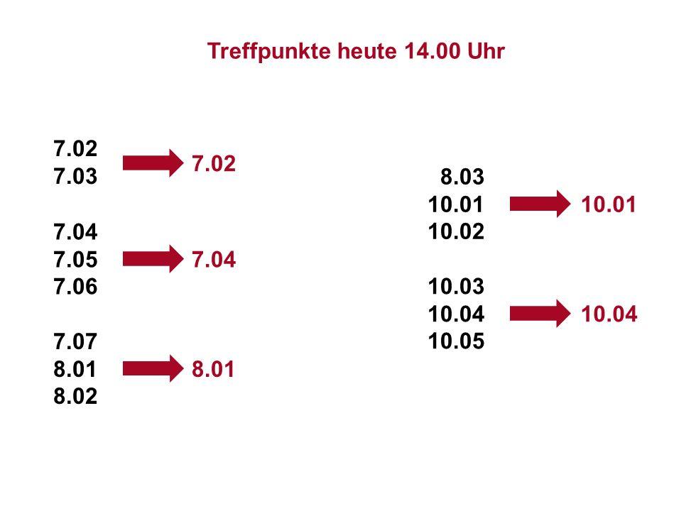 Institut für Grundlagen der Planung– Universität Stuttgart Institute for the Foundations of Planning – University of Stuttgart 7.02 7.03 7.04 7.05 7.06 7.07 8.01 8.02 8.03 10.01 10.02 10.03 10.04 10.05 7.02 7.04 8.01 10.01 10.04 Treffpunkte heute 14.00 Uhr