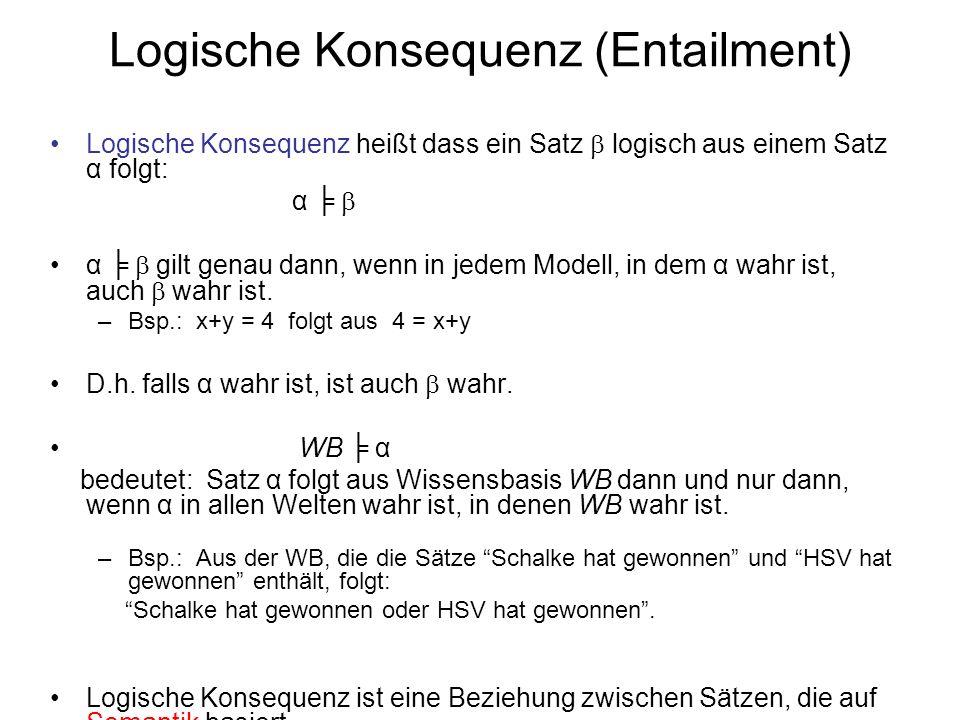 Logische Konsequenz (Entailment) Logische Konsequenz heißt dass ein Satz logisch aus einem Satz α folgt: α α gilt genau dann, wenn in jedem Modell, in