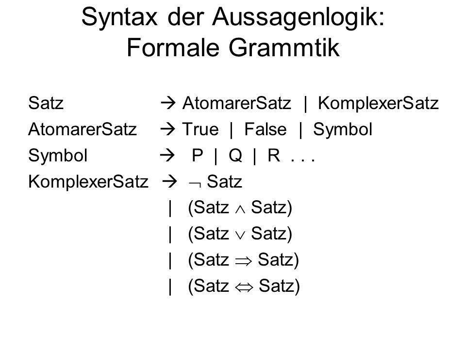 Syntax der Aussagenlogik: Formale Grammtik Satz AtomarerSatz | KomplexerSatz AtomarerSatz True | False | Symbol Symbol P | Q | R... KomplexerSatz Satz