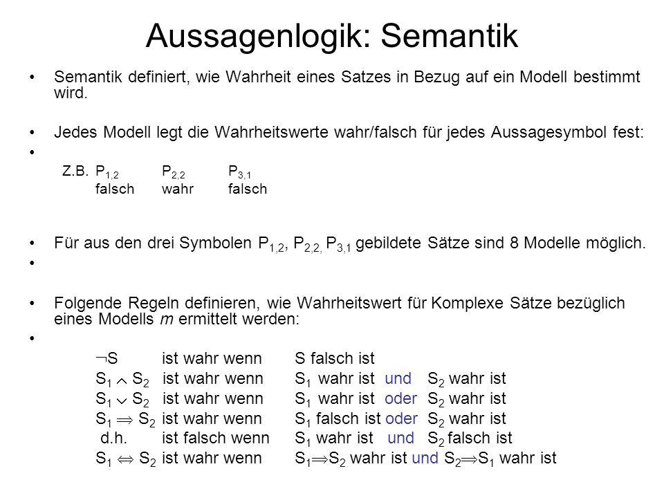 Aussagenlogik: Semantik Semantik definiert, wie Wahrheit eines Satzes in Bezug auf ein Modell bestimmt wird. Jedes Modell legt die Wahrheitswerte wahr