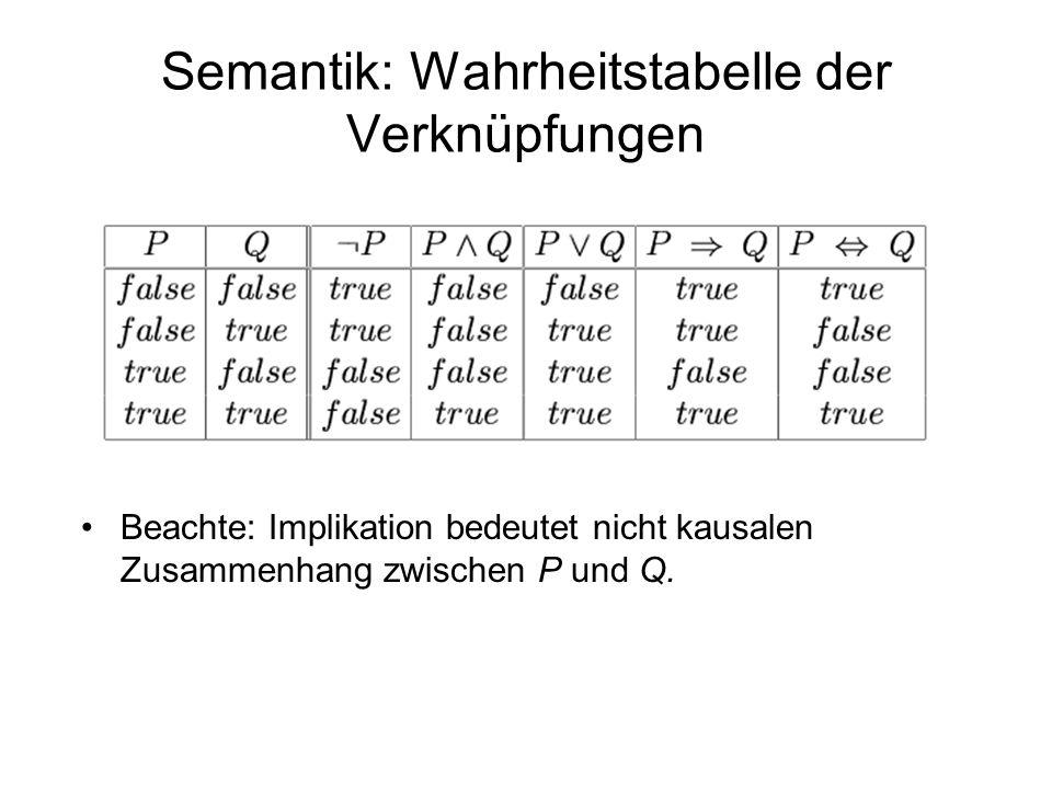 Semantik: Wahrheitstabelle der Verknüpfungen Beachte: Implikation bedeutet nicht kausalen Zusammenhang zwischen P und Q.