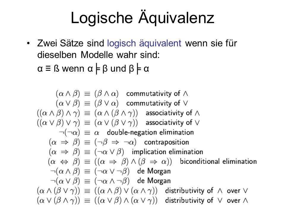 Logische Äquivalenz Zwei Sätze sind logisch äquivalent wenn sie für dieselben Modelle wahr sind: α ß wenn α β und β α