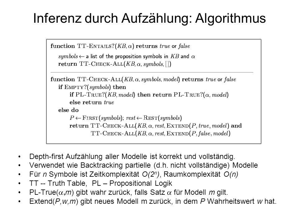 Inferenz durch Aufzählung: Algorithmus Depth-first Aufzählung aller Modelle ist korrekt und vollständig. Verwendet wie Backtracking partielle (d.h. ni