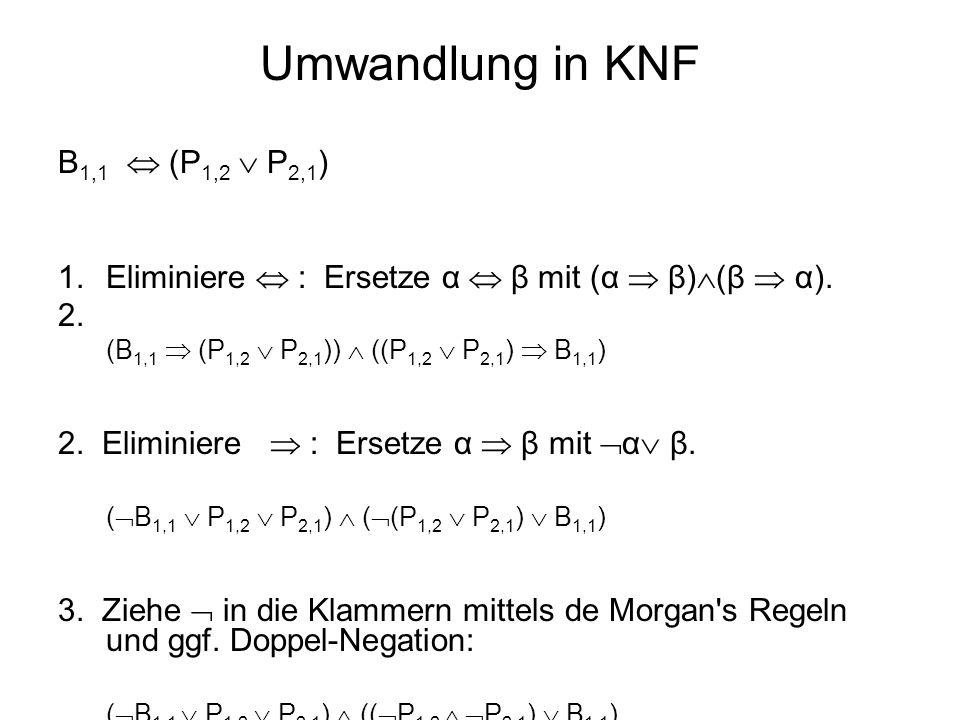 Umwandlung in KNF B 1,1 (P 1,2 P 2,1 ) 1.Eliminiere : Ersetze α β mit (α β) (β α). (B 1,1 (P 1,2 P 2,1 )) ((P 1,2 P 2,1 ) B 1,1 ) 2. Eliminiere : Erse