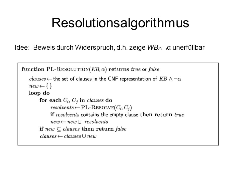 Resolutionsalgorithmus Idee: Beweis durch Widerspruch, d.h. zeige WB α unerfüllbar