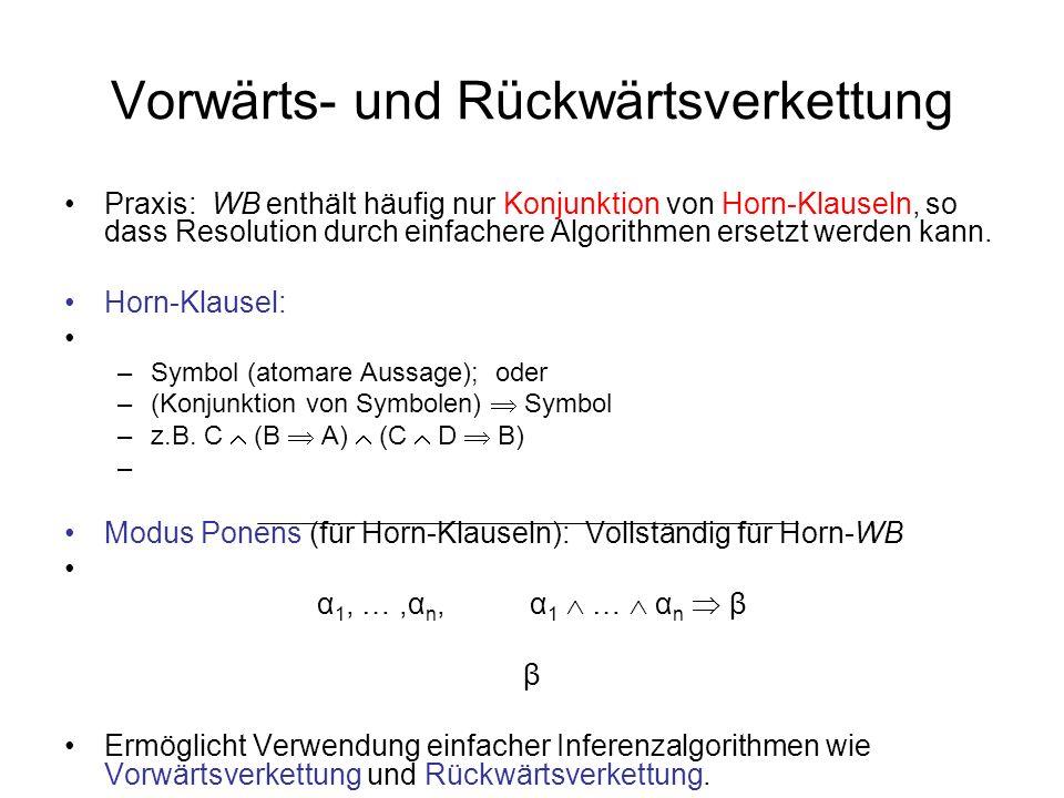 Vorwärts- und Rückwärtsverkettung Praxis: WB enthält häufig nur Konjunktion von Horn-Klauseln, so dass Resolution durch einfachere Algorithmen ersetzt