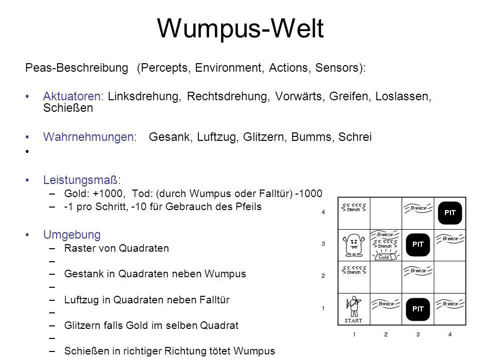 Wumpus-Welt Peas-Beschreibung (Percepts, Environment, Actions, Sensors): Aktuatoren: Linksdrehung, Rechtsdrehung, Vorwärts, Greifen, Loslassen, Schieß