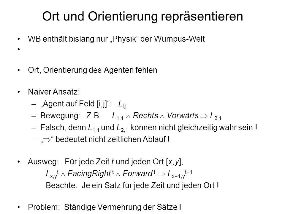 WB enthält bislang nur Physik der Wumpus-Welt Ort, Orientierung des Agenten fehlen Naiver Ansatz: –Agent auf Feld [i,j]: L i,j –Bewegung: Z.B. L 1,1 R