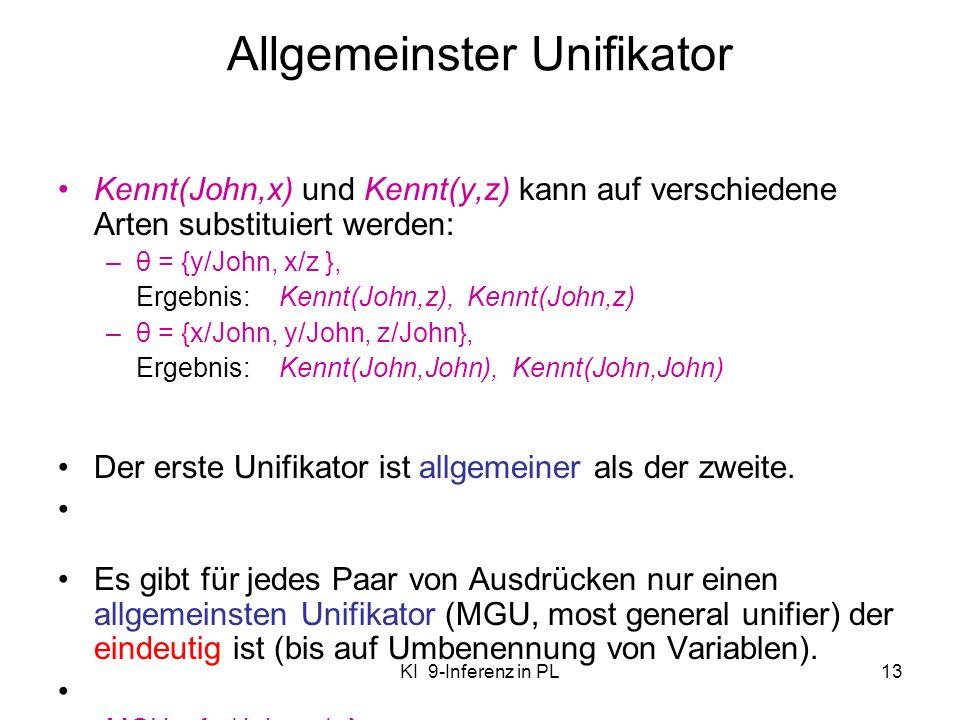 KI 9-Inferenz in PL13 Allgemeinster Unifikator Kennt(John,x) und Kennt(y,z) kann auf verschiedene Arten substituiert werden: –θ = {y/John, x/z }, Erge
