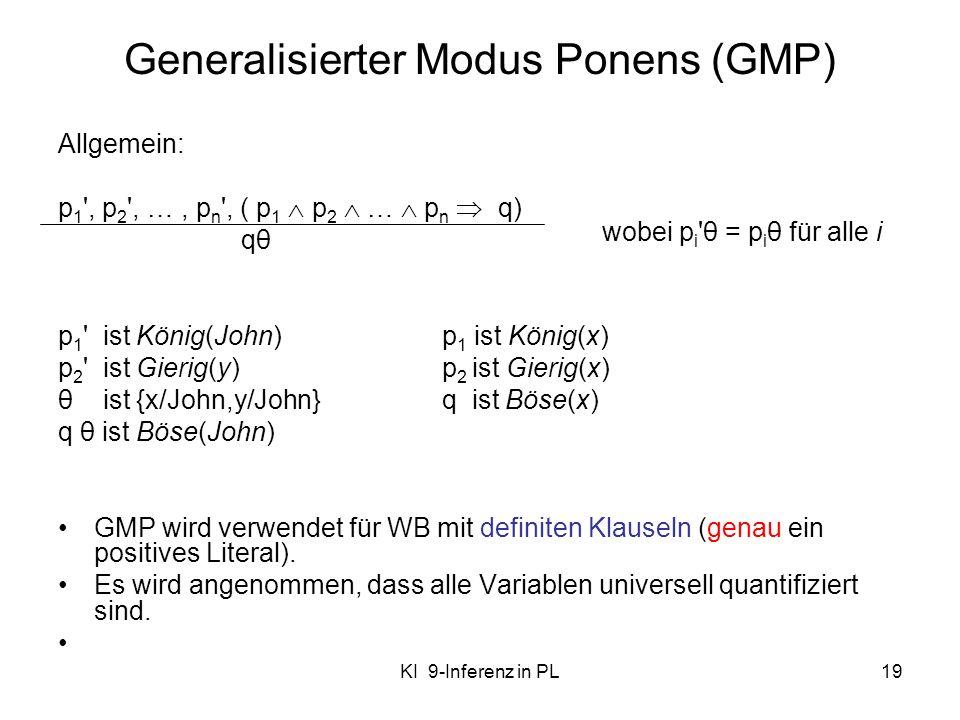 KI 9-Inferenz in PL19 Generalisierter Modus Ponens (GMP) Allgemein: p 1 ', p 2 ', …, p n ', ( p 1 p 2 … p n q) qθ p 1 ' ist König(John)p 1 ist König(x