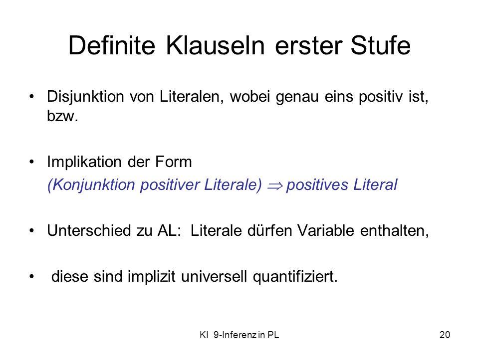 KI 9-Inferenz in PL20 Definite Klauseln erster Stufe Disjunktion von Literalen, wobei genau eins positiv ist, bzw. Implikation der Form (Konjunktion p