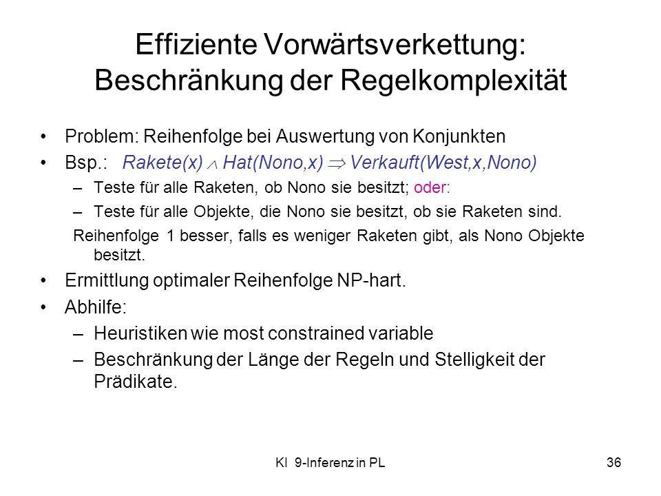 KI 9-Inferenz in PL36 Effiziente Vorwärtsverkettung: Beschränkung der Regelkomplexität Problem: Reihenfolge bei Auswertung von Konjunkten Bsp.: Rakete