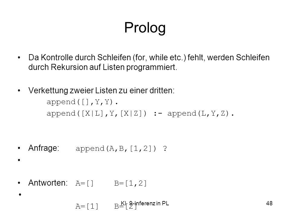 KI 9-Inferenz in PL48 Prolog Da Kontrolle durch Schleifen (for, while etc.) fehlt, werden Schleifen durch Rekursion auf Listen programmiert. Verkettun