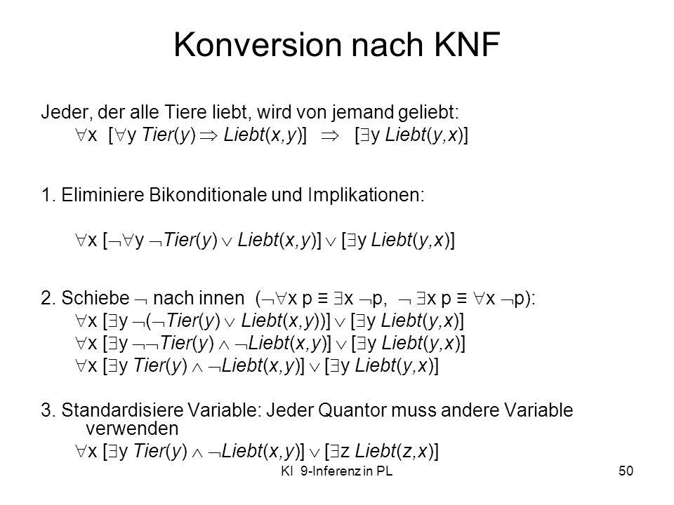 KI 9-Inferenz in PL50 Konversion nach KNF Jeder, der alle Tiere liebt, wird von jemand geliebt: x [ y Tier(y) Liebt(x,y)] [ y Liebt(y,x)] 1. Eliminier