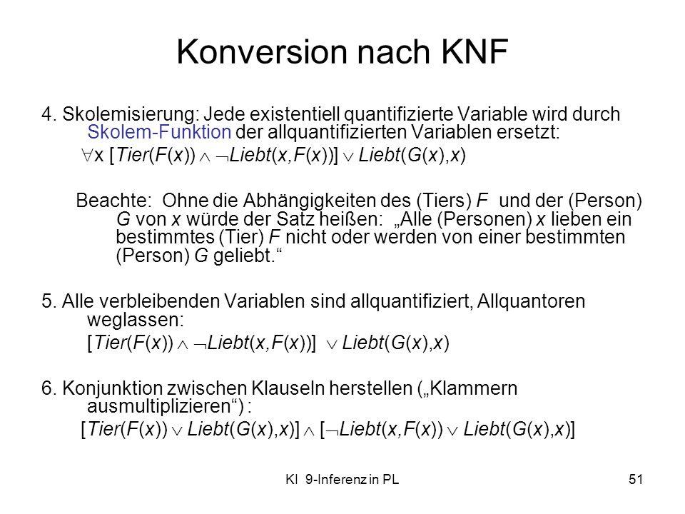KI 9-Inferenz in PL51 Konversion nach KNF 4. Skolemisierung: Jede existentiell quantifizierte Variable wird durch Skolem-Funktion der allquantifiziert