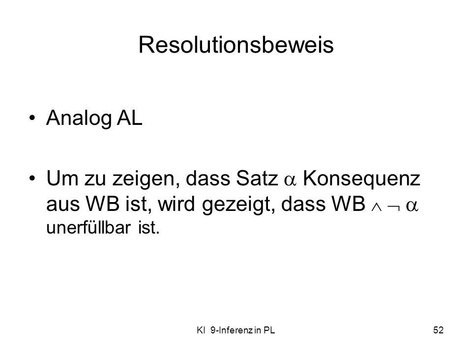 KI 9-Inferenz in PL52 Resolutionsbeweis Analog AL Um zu zeigen, dass Satz Konsequenz aus WB ist, wird gezeigt, dass WB unerfüllbar ist.