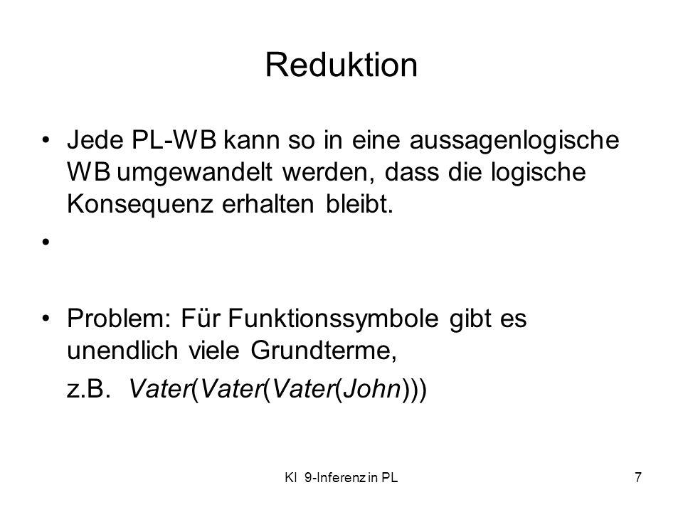 KI 9-Inferenz in PL7 Reduktion Jede PL-WB kann so in eine aussagenlogische WB umgewandelt werden, dass die logische Konsequenz erhalten bleibt. Proble