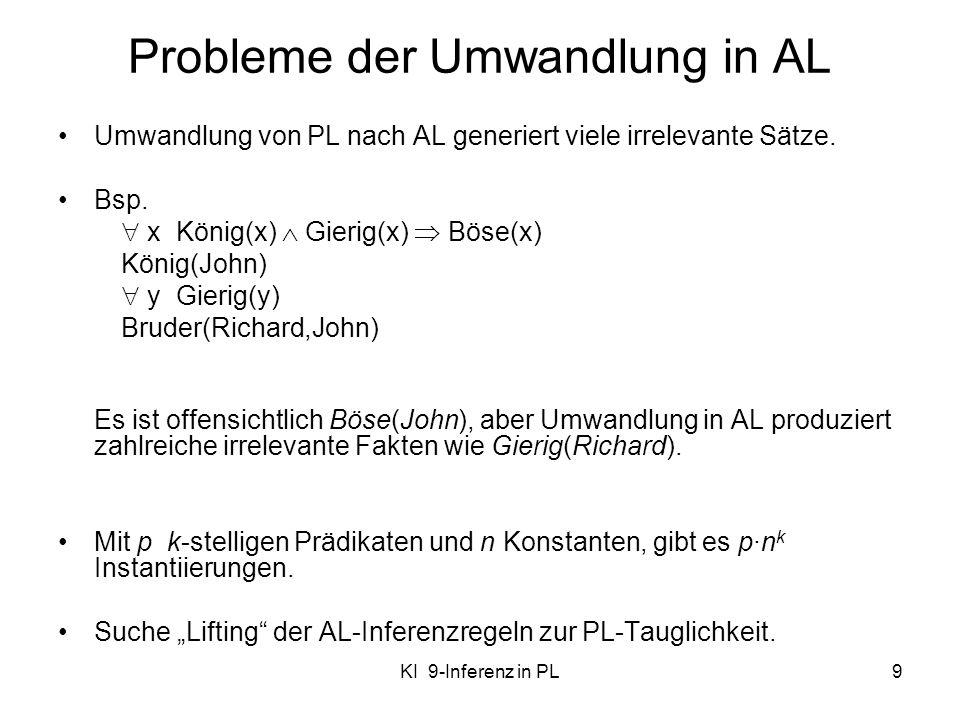 KI 9-Inferenz in PL9 Probleme der Umwandlung in AL Umwandlung von PL nach AL generiert viele irrelevante Sätze. Bsp. x König(x) Gierig(x) Böse(x) Köni