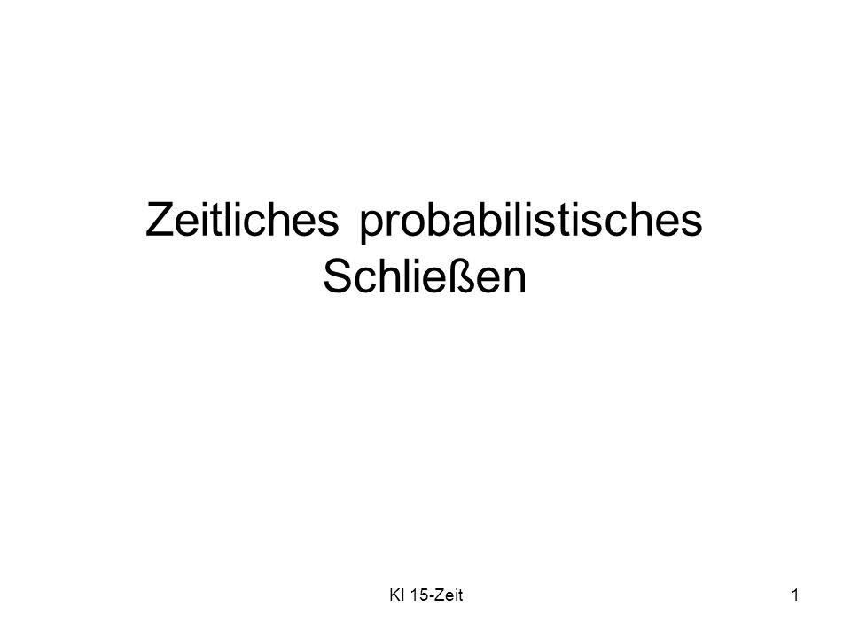 KI 15-Zeit2 Überblick Zeit und Unsicherheit, Markov-Prozesse Inferenz: - Filtern, Vorhersage, Glättung - Wahrscheinlichste Erklärung (Viterbi-Algorithmus) Hidden-Markov-Modelle Kalman-Filter Dynamische Bayes-Netze (kurz)