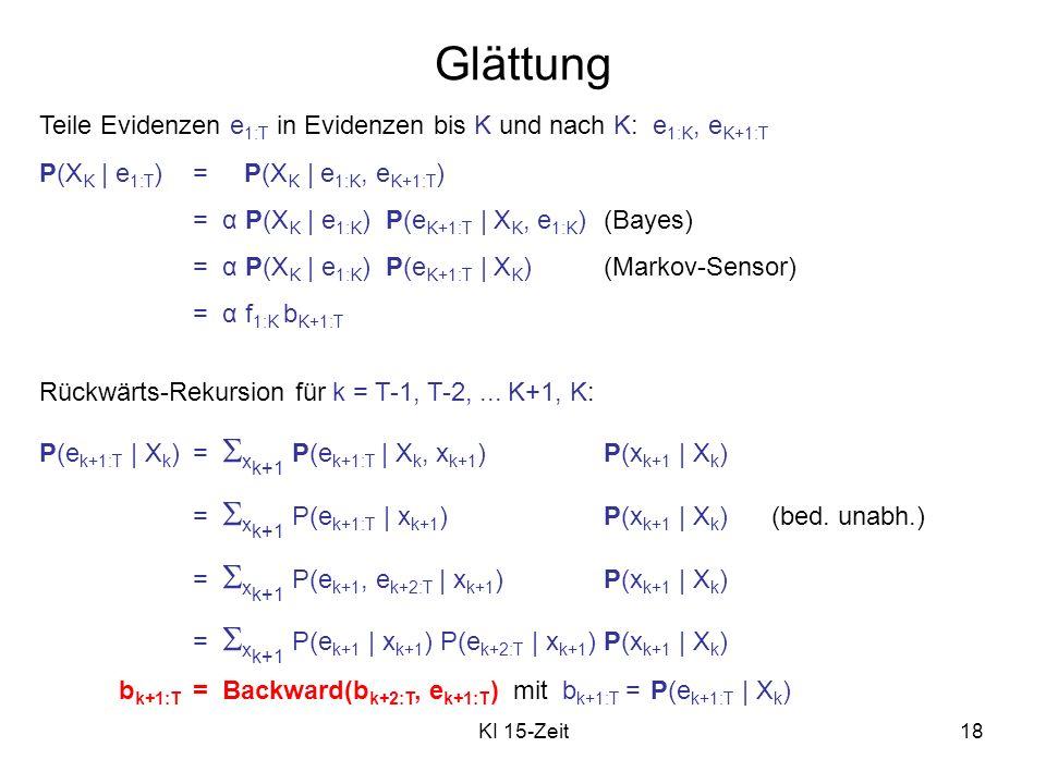 KI 15-Zeit18 Glättung Teile Evidenzen e 1:T in Evidenzen bis K und nach K: e 1:K, e K+1:T P(X K | e 1:T )= P(X K | e 1:K, e K+1:T ) = α P(X K | e 1:K