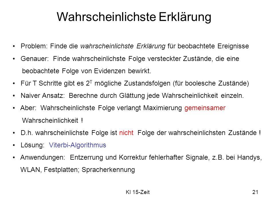 KI 15-Zeit21 Wahrscheinlichste Erklärung Problem: Finde die wahrscheinlichste Erklärung für beobachtete Ereignisse Genauer: Finde wahrscheinlichste Fo