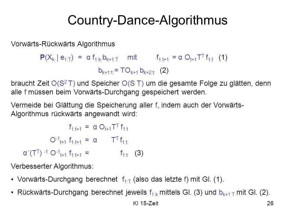 KI 15-Zeit26 Country-Dance-Algorithmus Vorwärts-Rückwärts Algorithmus P(X k | e 1:T ) = α f 1:k b k+1:T mitf 1:t+1 = α O t+1 T T f 1:t (1) b k+1:t = T