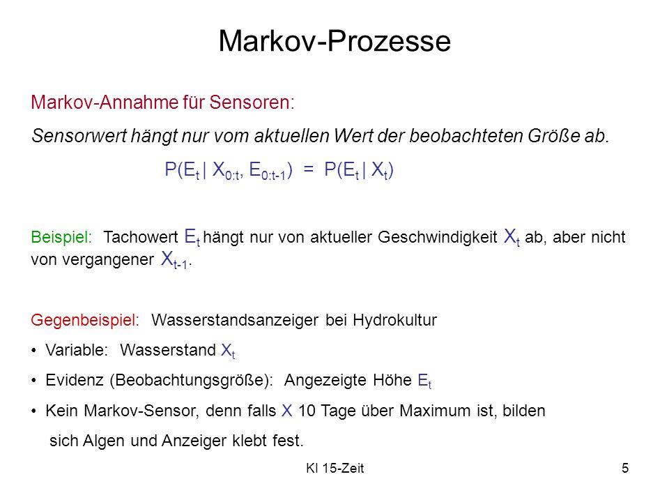 KI 15-Zeit6 Markov-Prozesse Stationärer Prozess: Welt verändert sich, aber Gesetze dieser Änderung und ihrer Beobachtung sind konstant: Übergangsmodell P(X t | X t-1 ) und Sensormodell (Beobachtungsmodell) P(E t | X t ) sind beide fest für alle t.