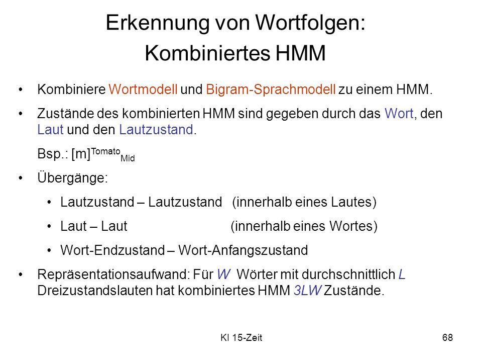 KI 15-Zeit68 Erkennung von Wortfolgen: Kombiniertes HMM Kombiniere Wortmodell und Bigram-Sprachmodell zu einem HMM. Zustände des kombinierten HMM sind