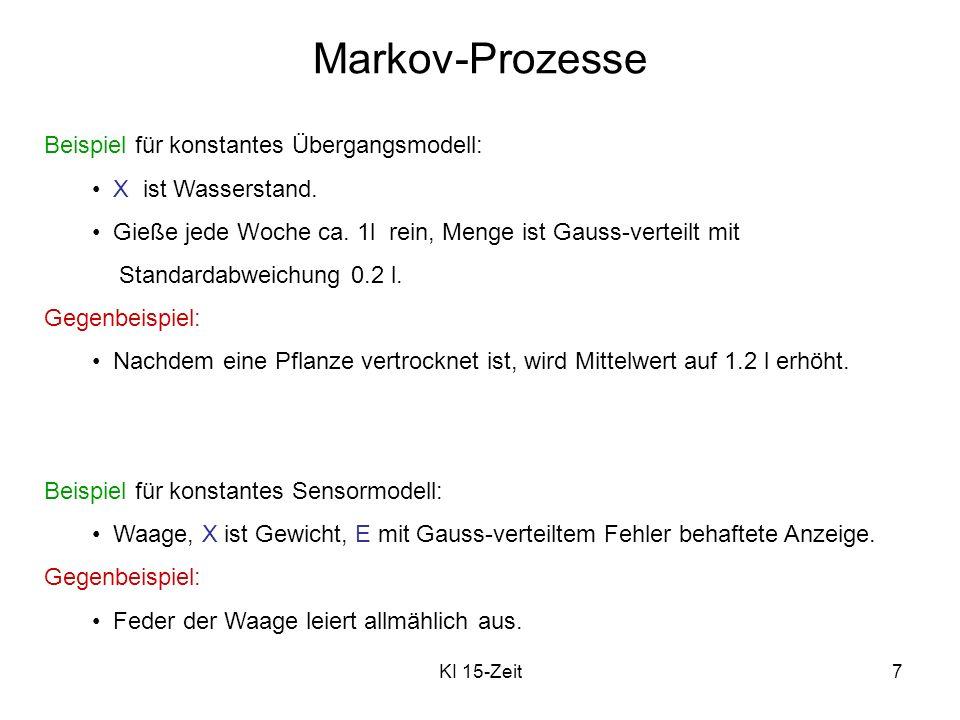 KI 15-Zeit7 Markov-Prozesse Beispiel für konstantes Übergangsmodell: X ist Wasserstand. Gieße jede Woche ca. 1l rein, Menge ist Gauss-verteilt mit Sta
