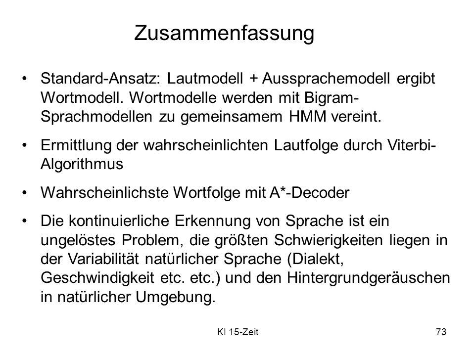 KI 15-Zeit73 Zusammenfassung Standard-Ansatz: Lautmodell + Aussprachemodell ergibt Wortmodell. Wortmodelle werden mit Bigram- Sprachmodellen zu gemein
