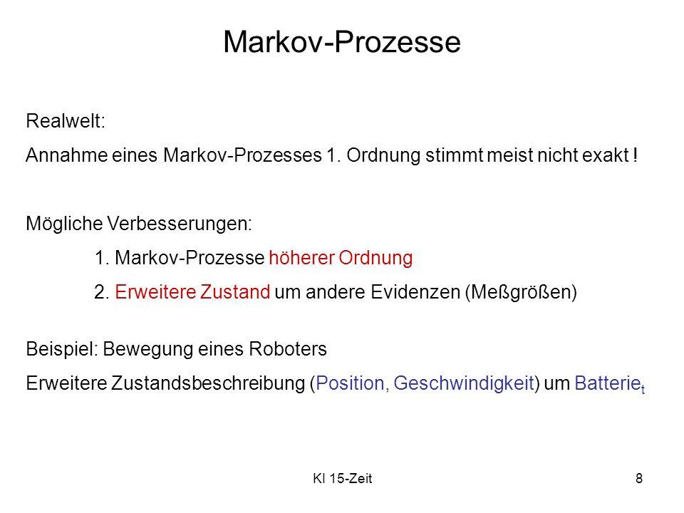 KI 15-Zeit8 Realwelt: Annahme eines Markov-Prozesses 1. Ordnung stimmt meist nicht exakt ! Mögliche Verbesserungen: 1. Markov-Prozesse höherer Ordnung