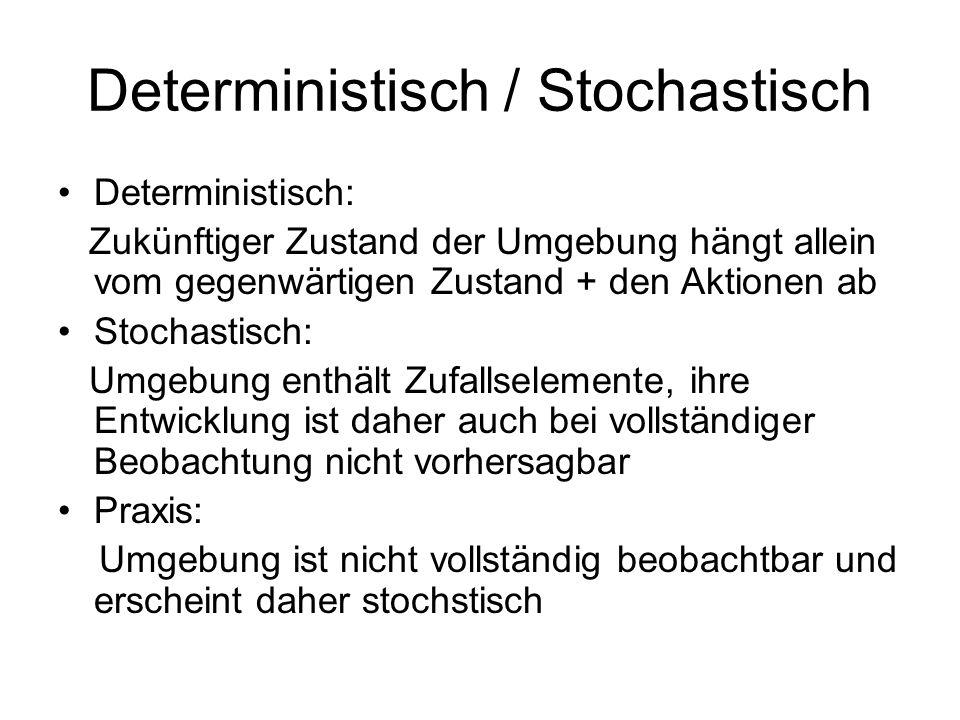 Deterministisch / Stochastisch Deterministisch: Zukünftiger Zustand der Umgebung hängt allein vom gegenwärtigen Zustand + den Aktionen ab Stochastisch