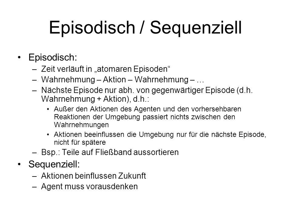 Episodisch / Sequenziell Episodisch: –Zeit verläuft in atomaren Episoden –Wahrnehmung – Aktion – Wahrnehmung – … –Nächste Episode nur abh. von gegenwä
