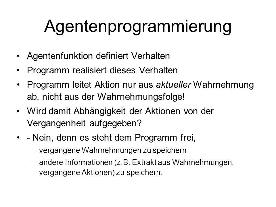 Agentenprogrammierung Agentenfunktion definiert Verhalten Programm realisiert dieses Verhalten Programm leitet Aktion nur aus aktueller Wahrnehmung ab
