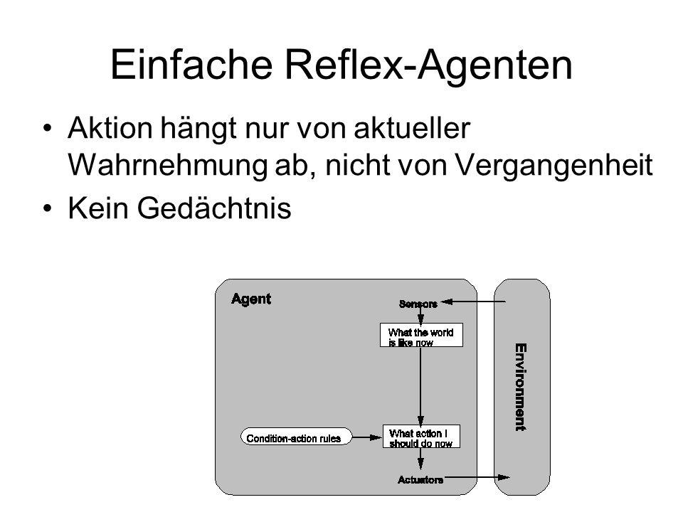 Einfache Reflex-Agenten Aktion hängt nur von aktueller Wahrnehmung ab, nicht von Vergangenheit Kein Gedächtnis