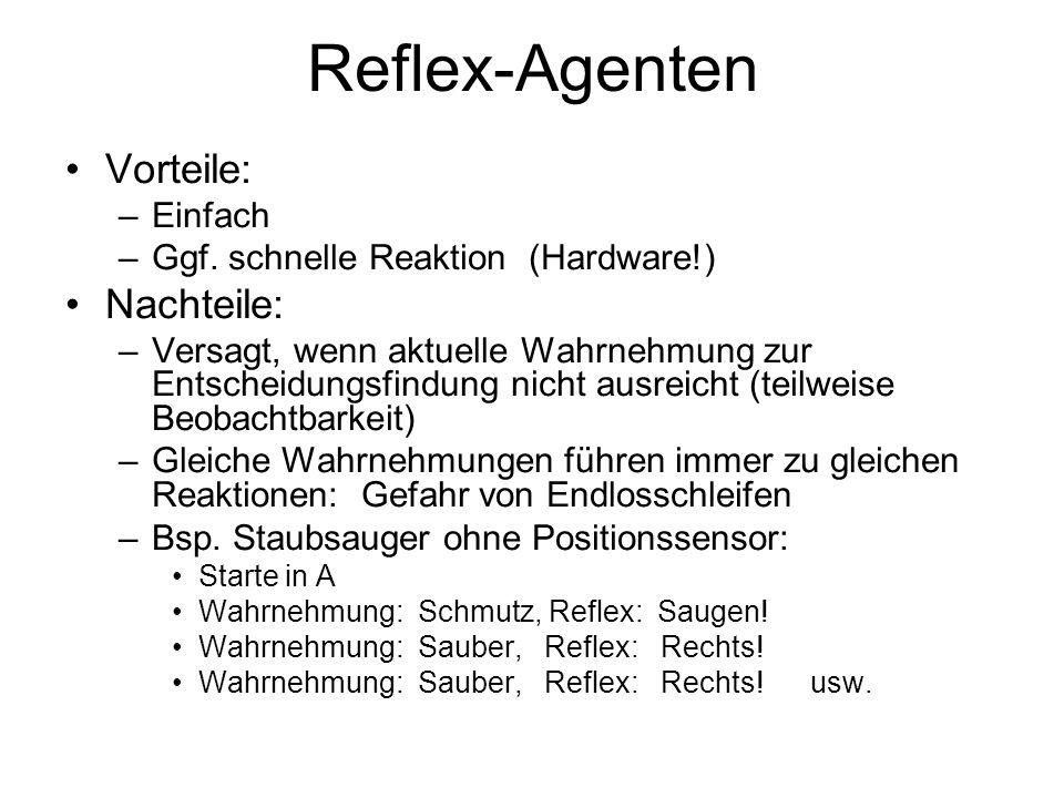 Reflex-Agenten Vorteile: –Einfach –Ggf. schnelle Reaktion (Hardware!) Nachteile: –Versagt, wenn aktuelle Wahrnehmung zur Entscheidungsfindung nicht au