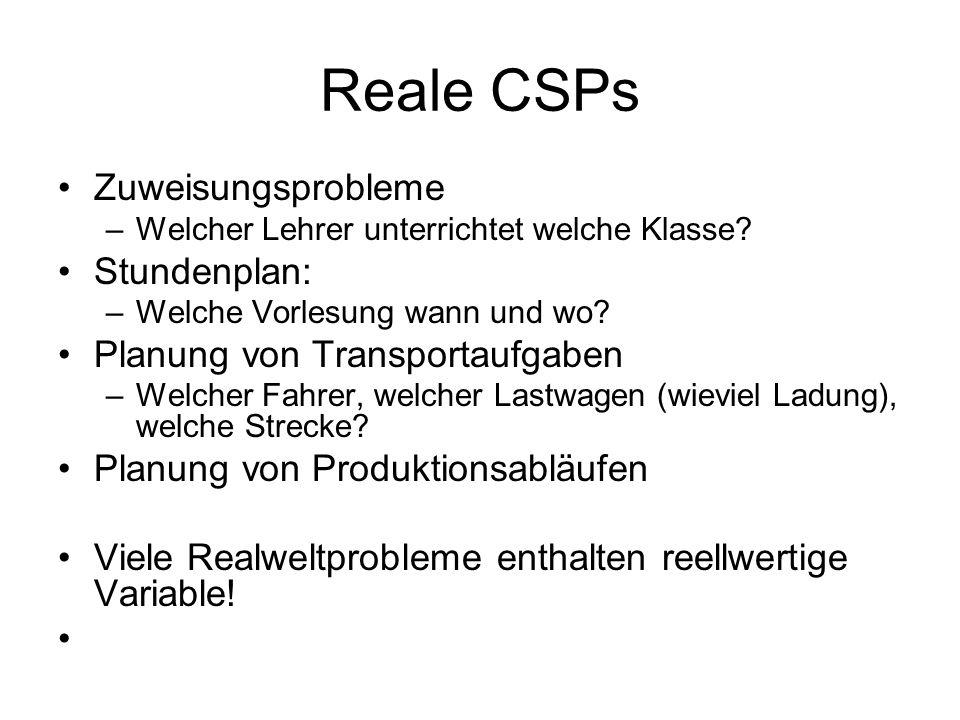Reale CSPs Zuweisungsprobleme –Welcher Lehrer unterrichtet welche Klasse.