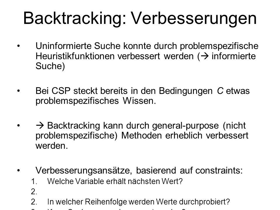 Backtracking: Verbesserungen Uninformierte Suche konnte durch problemspezifische Heuristikfunktionen verbessert werden ( informierte Suche) Bei CSP steckt bereits in den Bedingungen C etwas problemspezifisches Wissen.