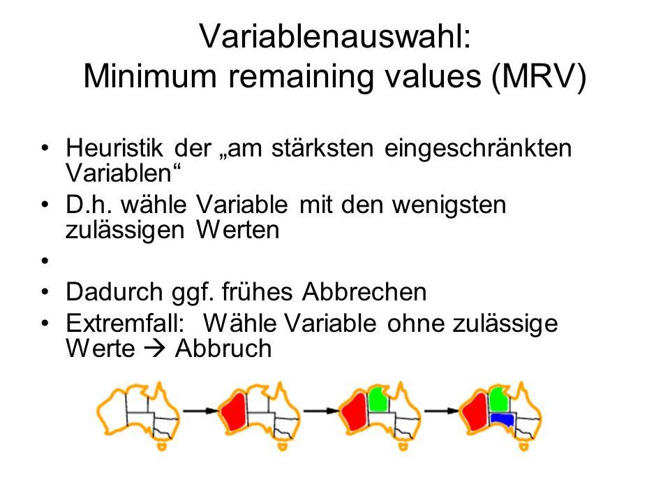 Variablenauswahl: Minimum remaining values (MRV) Heuristik der am stärksten eingeschränkten Variablen D.h.