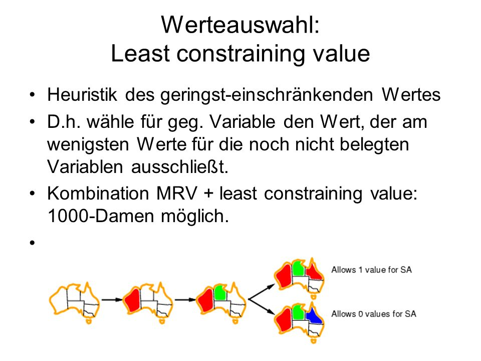 Werteauswahl: Least constraining value Heuristik des geringst-einschränkenden Wertes D.h.