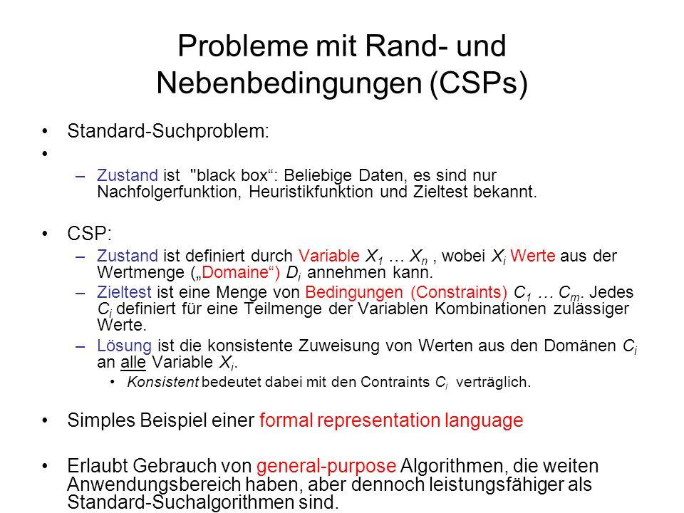 Probleme mit Rand- und Nebenbedingungen (CSPs) Standard-Suchproblem: –Zustand ist black box: Beliebige Daten, es sind nur Nachfolgerfunktion, Heuristikfunktion und Zieltest bekannt.