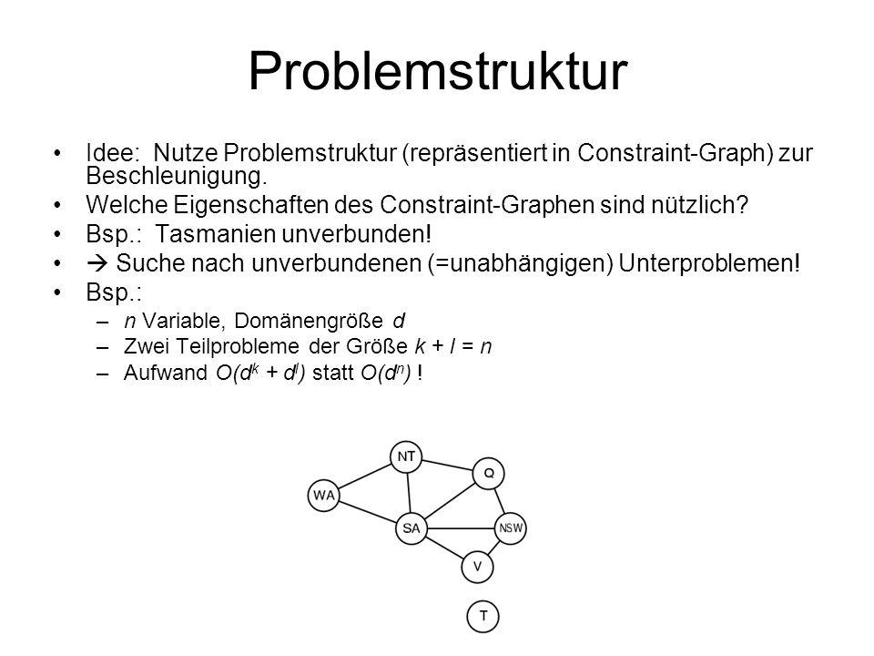 Problemstruktur Idee: Nutze Problemstruktur (repräsentiert in Constraint-Graph) zur Beschleunigung.