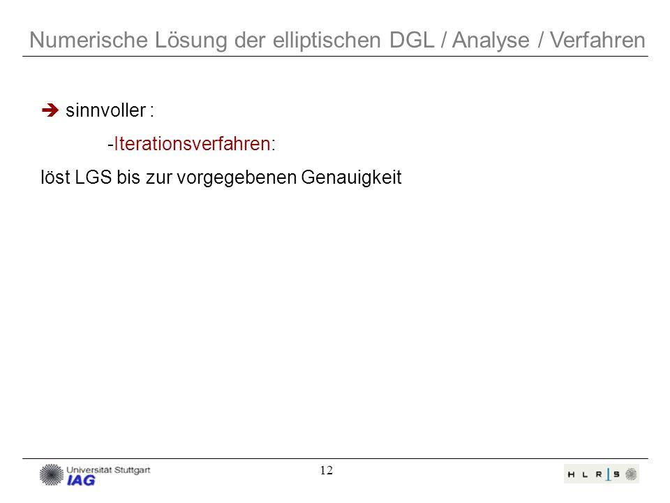 12 Numerische Lösung der elliptischen DGL / Analyse / Verfahren sinnvoller : -Iterationsverfahren: löst LGS bis zur vorgegebenen Genauigkeit
