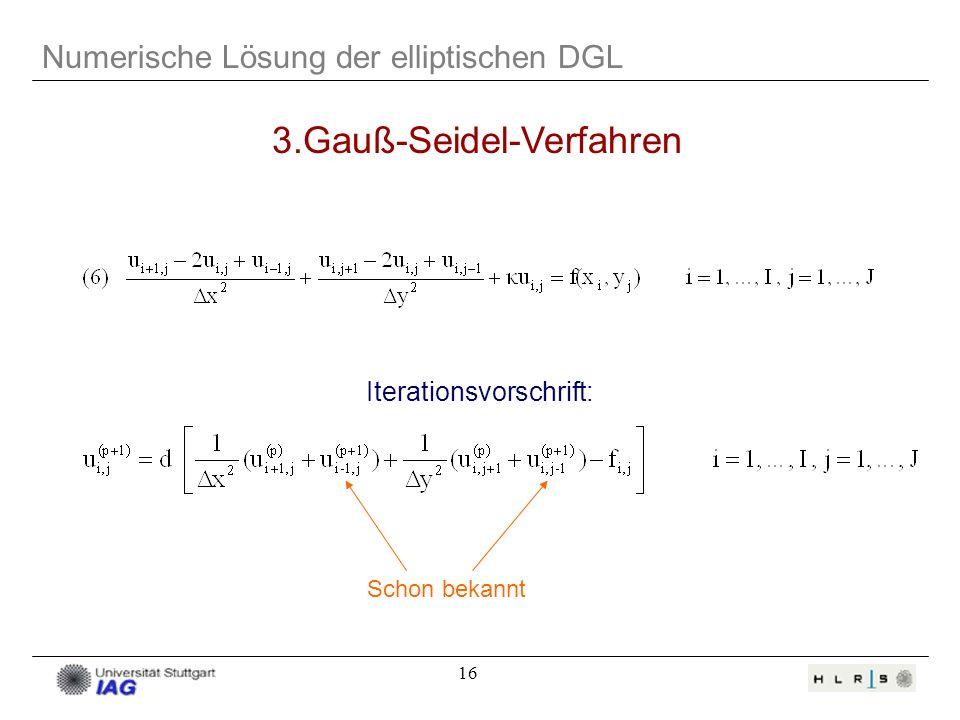 16 Numerische Lösung der elliptischen DGL 3.Gauß-Seidel-Verfahren Iterationsvorschrift: Schon bekannt