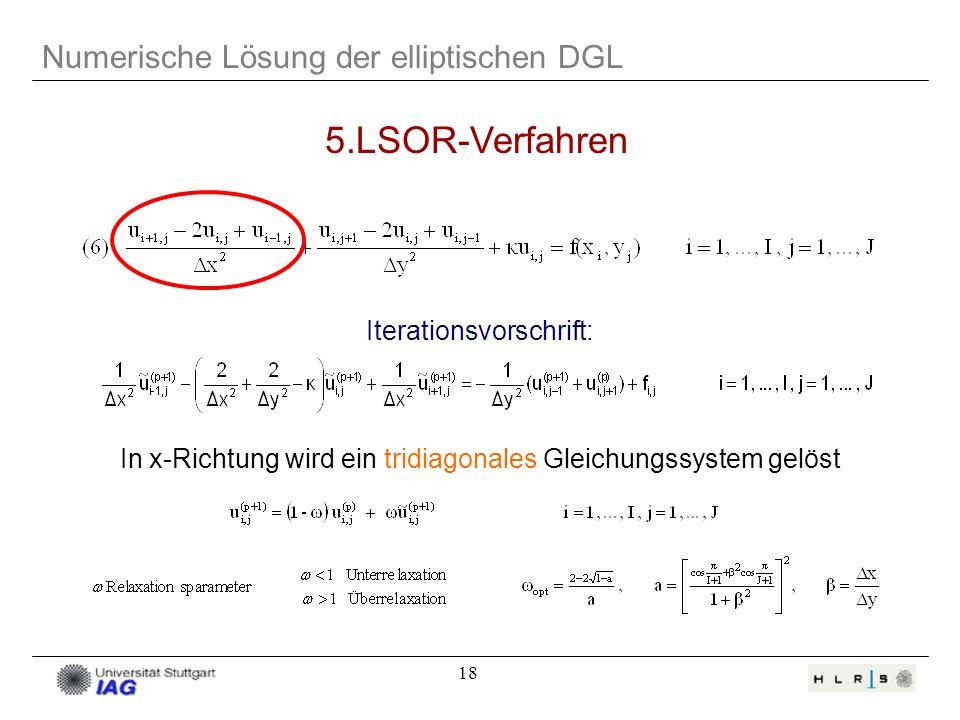 18 Numerische Lösung der elliptischen DGL 5.LSOR-Verfahren Iterationsvorschrift: In x-Richtung wird ein tridiagonales Gleichungssystem gelöst