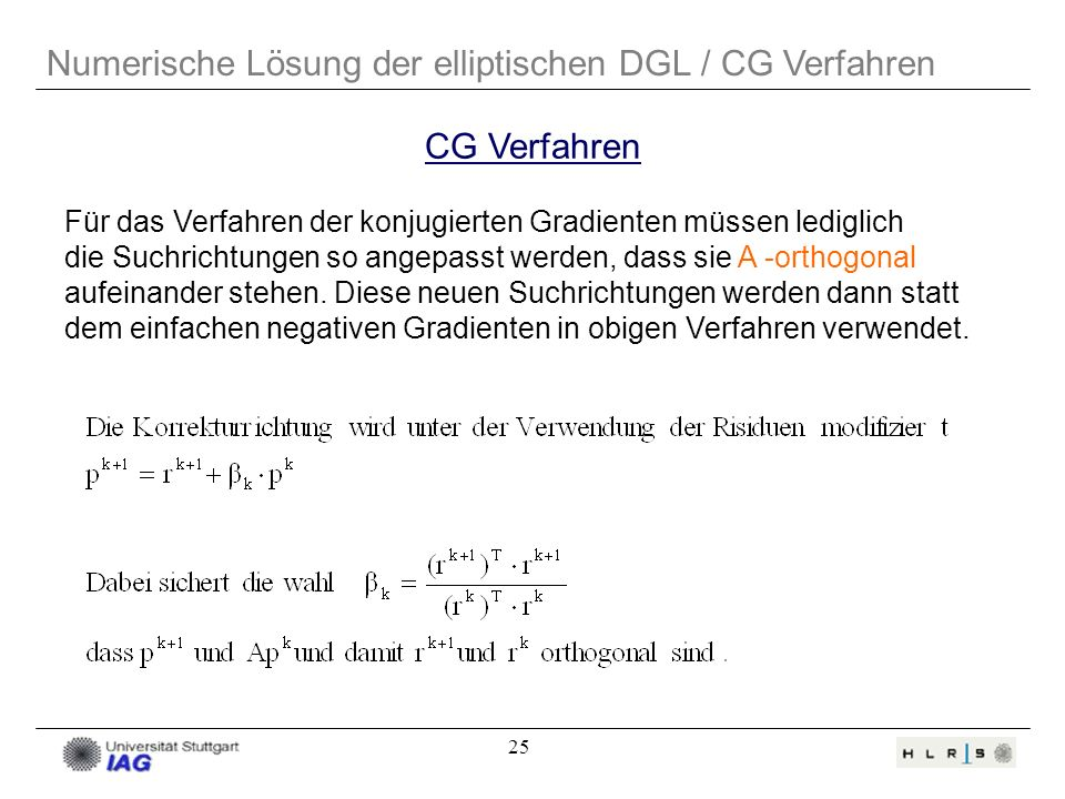 25 Für das Verfahren der konjugierten Gradienten müssen lediglich die Suchrichtungen so angepasst werden, dass sie A -orthogonal aufeinander stehen. D